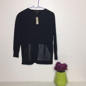 J crew Sweater with Leather pockets Black xxs